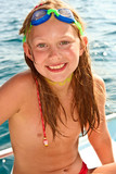 young girl at the beach with wet hair - Fine Art prints
