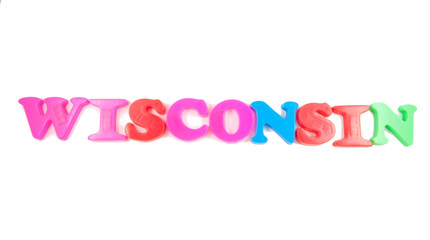 wisconsin written in fridge magnets
