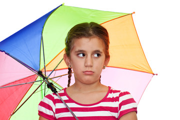 Small girl with a multicolor umbrella on a white background
