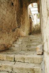 Narrow street of old Kotor, Adriatic coast, Montenegro