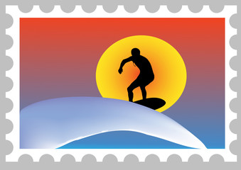 illustration of a stamp with a surfer