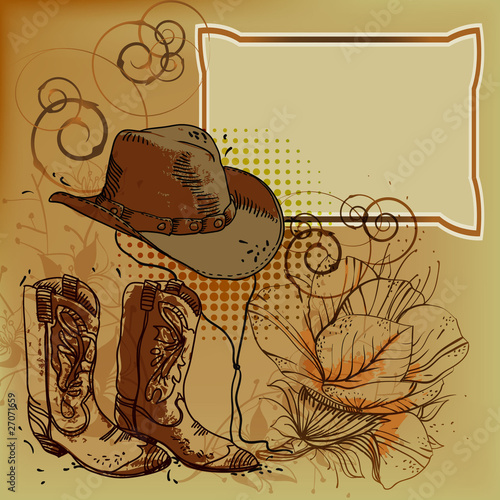vector frame with a cowboy hat, boots and flowers