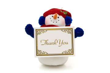 Snowman holding a thank you card