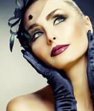 Fototapeta retro - kobieta - Makijaż
