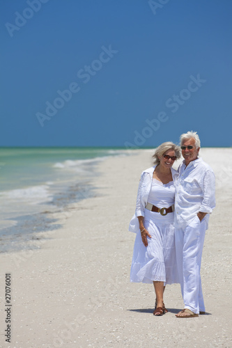 Happy Senior Couple Laughing on Tropical Beach
