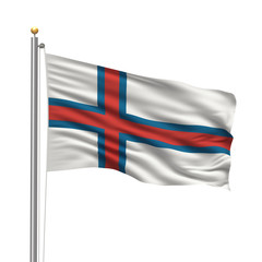 Flag of the Faroe Islands waving in the wind in front of white