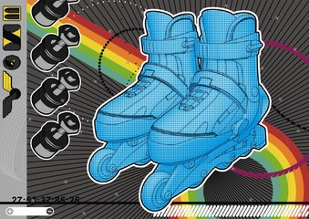 Highly detailed illustration of a pair of roller blades.