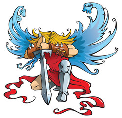 Angel with large sword, kneeling with open wings, vector