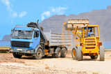 Front end loader and dump truck, Graciosa, Canaries