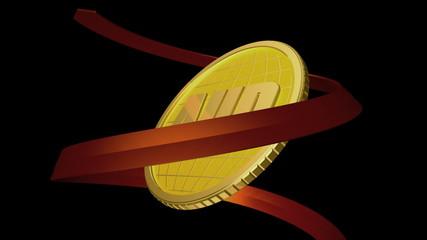 3d анимация золотая монета и красная стрелка