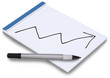 Notepad isolated with handwritten business graph arrow