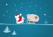 Der Weihnachtsmann zieht einen Schlitten mit einem Sack
