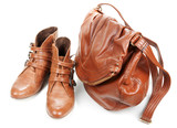 Brown leather bag and pair feminine boots