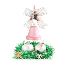 Christmas decorations arrangement isolated on white.