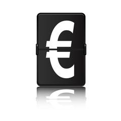 Panel de aeropuerto con símbolo euro