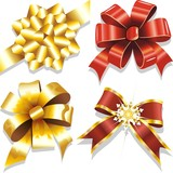 Fototapety Fiocchi Rosso e Oro-Red and Golden Bows-Ribbons-Vector