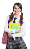 Schoolgirl with books, backpack and ponytails poster