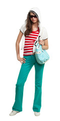 Stylish teenage girl with purse