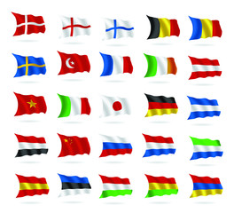 world flags set vector as true