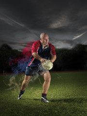 Rugby Player with dramatic sky