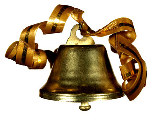 Hand bell with tapes of gold color on a white background