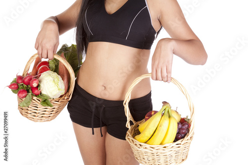 Womans body fruit vegetables
