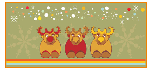 Merry Christmas Card with happy reindeer