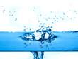 blue water splashing  white background