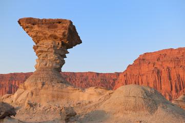 "Sandstone formations in Ischigualasto, Argentina. ""The mushroom"""