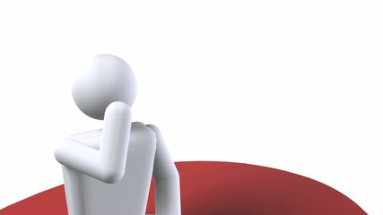 Sitting and thinking on a question mark - 1920x1080 HD footage