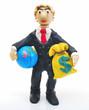 Человек с глобусом и мешком долларов