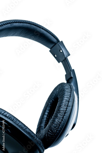 black headphones on white