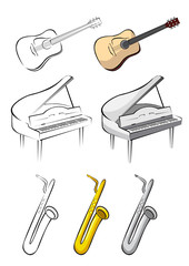 Three music instruments - guitar, piano, saxophone