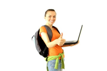 Female student with laptop showing ok sign, isolated on white