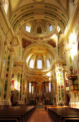 Interior of the Jesuit Church in Mannheim, Germany