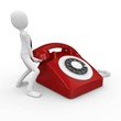 3d business man with red telephone