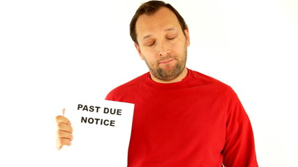 Man holding past due notice, isolated on white