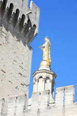 goloden statue and tower of Avignon