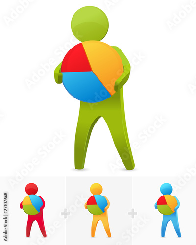 3D stick figure holding pie chart