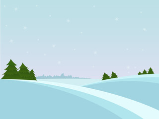 Snow christmas landscape with fir tree and far forest