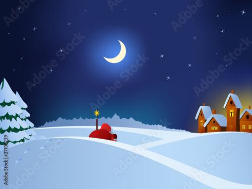 Santa Claus coming to christmas town throw night snow field.