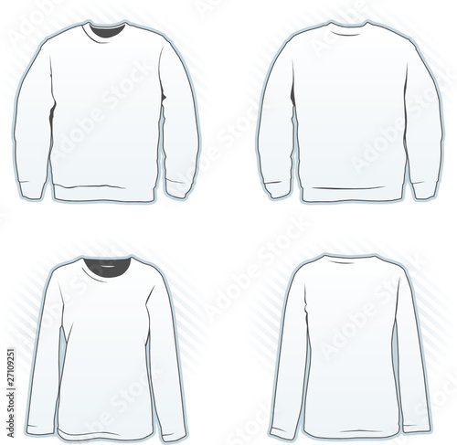 sweatshirt design template set including male and female stock image