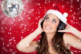 discoball, snow, and santa girl poster