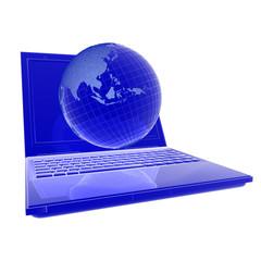 3d компьютер сеть синий