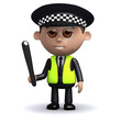 3d Police officer holding his truncheon