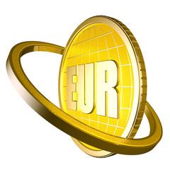 3d абстракция евро золотая монета