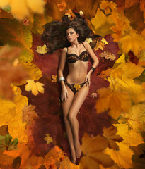 Beauty brunette laying on the leaves carpet