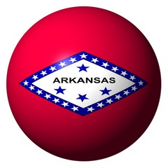 Arkansas flag sphere isolated on white illustration