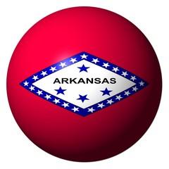 Arkansas flag sphere isolated on white illustration