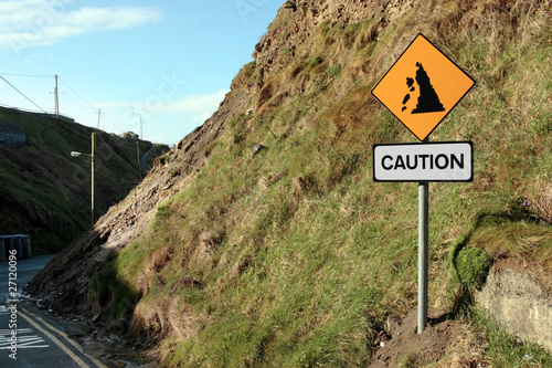 landslide risk road sign